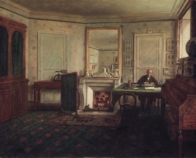 José María Calderón (Mexican, 1823-1876). <em>The Office of Don Manuel Romero de Terreros in Paris (Gabinete de Don Manuel Romero de Terreros en París)</em>, 1870. Oil on canvas, 25 1/2 x 31 3/4 in. (64.8 x 80.6 cm). Brooklyn Museum, Gift of Algara Romero de Terreros, 53.180.1 (Photo: Brooklyn Museum, 53.180.1.jpg)