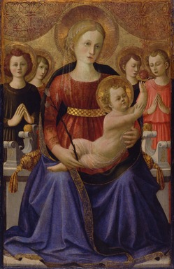 Zanobi Strozzi (Italian, Florentine, 1412-1468). <em>Virgin and Child with Four Angels and the Redeemer</em>, ca. 1450. Tempera and tooled gold on panel, 31 x 20 1/4 in. (78.7 x 51.4 cm). Brooklyn Museum, Gift of Mrs. Arthur Lehman, 53.189 (Photo: Brooklyn Museum, 53.189_SL4.jpg)