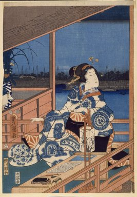 Utagawa Hiroshige (Ando) (Japanese, 1797-1858). <em>Moonlight View of Tsukuda with Lady on a Balcony, from the series Fashionable Genji</em>, 1853, 11th month. Woodblock color print, Sheet of a: 14 1/2 x 10 1/8 in. (37.0 x 25.8 cm). Brooklyn Museum, Gift of Mrs. H.S. Chapman, 53.196.1a-c (Photo: Brooklyn Museum, 53.196.1a_SL3.jpg)