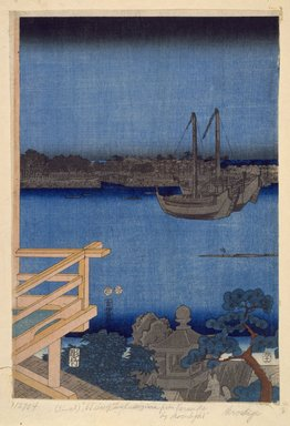 Utagawa Hiroshige (Ando) (Japanese, 1797-1858). <em>Moonlight View of Tsukuda with Lady on a Balcony, from the series Fashionable Genji</em>, 1853, 11th month. Woodblock color print, Sheet of a: 14 1/2 x 10 1/8 in. (37.0 x 25.8 cm). Brooklyn Museum, Gift of Mrs. H.S. Chapman, 53.196.1a-c (Photo: Brooklyn Museum, 53.196.1b_SL3.jpg)