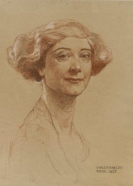 Violet Oakley (American, 1874-1960). <em>Portrait of Mrs. J. Monroe Hewlett</em>, 1937. Red, white, and black chalk (possibly Conté crayon) on beige, moderately thick, moderately textured wove paper, Sheet: 15 11/16 x 11 11/16 in. (39.8 x 29.7 cm). Brooklyn Museum, Gift of the Monroe and Estelle Hewlett Collection, 53.197 (Photo: Brooklyn Museum, 53.197_PS4.jpg)