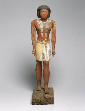 <em>Statue of Metjetji</em>, ca. 2371-2288 B.C.E. Wood, pigment, 27 9/16 in. (70 cm). Brooklyn Museum, Charles Edwin Wilbour Fund, 53.222. Creative Commons-BY (Photo: Brooklyn Museum, 53.222_SL1.jpg)