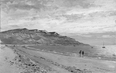 William Trost Richards (American, 1833-1905). <em>Shoreline with Two Figures</em>. Watercolor, 8 13/16 x 13 15/16 in. (22.4 x 35.4 cm). Brooklyn Museum, Bequest of Mrs. William T. Brewster through the National Academy of Design, 53.225 (Photo: Brooklyn Museum, 53.225_acetate_bw.jpg)