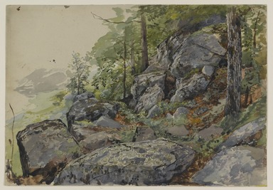 William Trost Richards (American, 1833-1905). <em>Woodland Boulders</em>, ca. 1877-1878. Transparent and opaque watercolors over graphite on gray/green, moderately thick, smooth textured wove paper, Sheet: 10 1/16 x 14 7/16 in. (25.6 x 36.7 cm). Brooklyn Museum, Bequest of Mrs. William T. Brewster through the National Academy of Design, 53.228 (Photo: Brooklyn Museum, 53.228_PS1.jpg)