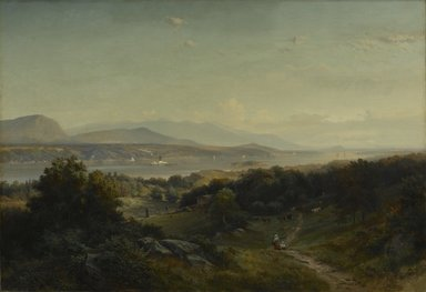 Johann Hermann Carmiencke (American, born Denmark, 1810-1867). <em>Landscape, Hyde Park, New York</em>, 1859. Oil on canvas, 33 1/8 x 48 1/4 in. (84.2 x 122.5 cm). Brooklyn Museum, Dick S. Ramsay Fund, 53.23 (Photo: Brooklyn Museum, 53.23_PS1.jpg)