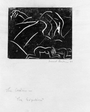 Leonard Baskin (American, 1922-2000). <em>The Expulsion</em>, 1939. Linocut Brooklyn Museum, Gift of the artist, 53.244.5. © artist or artist's estate (Photo: Brooklyn Museum, 53.244.5_bw.jpg)