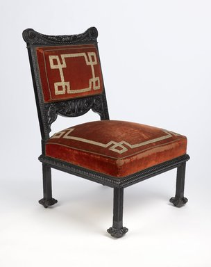 Attributed to George A. Schastey (1839-1894). <em>Side Chair</em>, ca. 1881. Ebonized oak, second generation upholstery, metal casters, 37 1/2 x 23 x 23 1/2 in. (95.3 x 58.4 x 59.7 cm). Brooklyn Museum, Gift of John D. Rockefeller III, 53.245.1. Creative Commons-BY (Photo: Brooklyn Museum, 53.245.1_PS9.jpg)