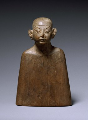 <em>Miniature Bust</em>, ca. 1336-1327 B.C.E., ca. 1327-1323 B.C.E., or ca. 1323-1295 B.C.E. Wood, 3 1/16 x 2 1/16 in. (7.8 x 5.3 cm). Brooklyn Museum, Charles Edwin Wilbour Fund, 53.246. Creative Commons-BY (Photo: Brooklyn Museum, 53.246_SL3.jpg)
