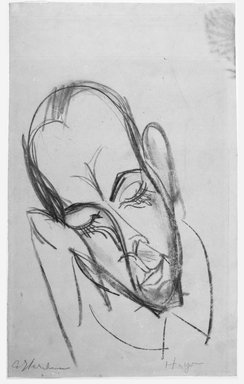 Ernst Ludwig Kirchner (German, 1880-1938). <em>Maennlicher Kopf (Head of a Man)</em>. Charcoal drawing on wove paper, Sheet: 18 15/16 x 11 3/4 in. (48.1 x 29.8 cm). Brooklyn Museum, A. Augustus Healy Fund, 53.254.2 (Photo: Brooklyn Museum, 53.254.2_bw.jpg)