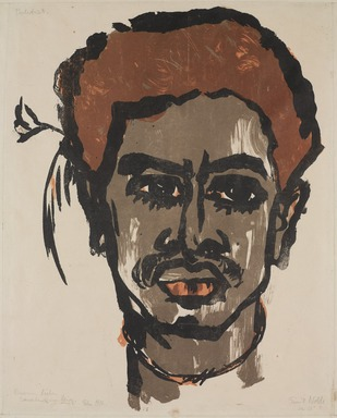 Emil Nolde (German, 1867-1956). <em>South Sea Islander (Südsee-Insulaner II)</em>, 1915. Color lithograph on wove paper, image: 16 15/16 × 13 1/8 in. (43 × 33.3 cm). Brooklyn Museum, A. Augustus Healy Fund, 53.254.3 (Photo: , 53.254.3_PS9.jpg)