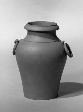 Chelsea Keramic Art Works. <em>Vase</em>, ca. 1875. Bisque, 6 1/4 x 2 1/8 in. (15.9 x 5.4 cm). Brooklyn Museum, Gift of Mrs. Charles Messer Stow, 53.257.4. Creative Commons-BY (Photo: Brooklyn Museum, 53.257.4_acetate_bw.jpg)