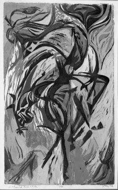 Seong Moy (American, born China, 1921-2013). <em>Classical Horse and Rider</em>, 1952. Woodcut on paper, 25 1/8 x 15 3/16 in. (63.8 x 38.5 cm). Brooklyn Museum, Dick S. Ramsay Fund, 53.28. © artist or artist's estate (Photo: Brooklyn Museum, 53.28_acetate_bw.jpg)