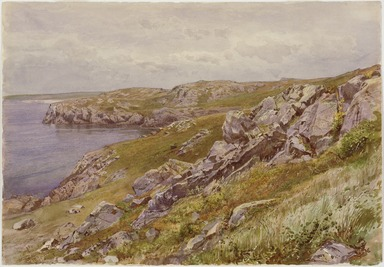 William Trost Richards (American, 1833-1905). <em>Rhode Island Coast: Conanicut Island</em>, ca. 1880. Transparent watercolor with touches of opaque watercolor on cream, moderately thick, slightly textured wove paper, 10 x 14 7/16 in. (25.4 x 36.7 cm). Brooklyn Museum, Bequest of Mrs. William T. Brewster through the National Academy of Design, 53.229 (Photo: , 53.299_SL3.jpg)