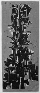 Edmond Casarella (American, 1920-1996). <em>Civitavecchio</em>, 1952. Woodcut, 23 1/2 x 9 7/16 in. (59.7 x 24 cm). Brooklyn Museum, Dick S. Ramsay Fund, 53.36. © artist or artist's estate (Photo: Brooklyn Museum, 53.36_acetate_bw.jpg)