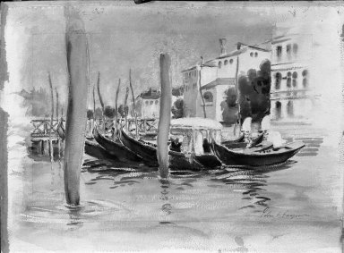 American. <em>Venetian Scene (Four Gondolas)</em>. Watercolor heightened with white on paper mounted on paperboard, 15 1/16 x 20 3/4 in.  (38.3 x 52.7 cm). Brooklyn Museum, Bequest of Mrs. Francis Noble, 53.40 (Photo: Brooklyn Museum, 53.40_acetate_bw.jpg)