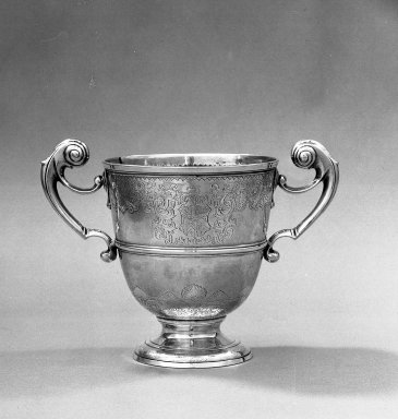 Attributed to David King. <em>Loving Cup</em>, 1733-1734. Silver Brooklyn Museum, Bequest of Mrs. Francis Noble, 53.45. Creative Commons-BY (Photo: Brooklyn Museum, 53.45_acetate_bw.jpg)