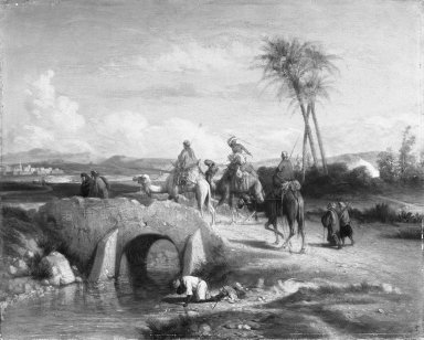 Étienne Billet (French, 1821-1888). <em>Arabian Scene</em>, n.d. Oil on canvas, 13 1/4 x 16 1/2 in. (33.7 x 41.9 cm). Brooklyn Museum, Bequest of Annie H. Halsted, 53.53 (Photo: Brooklyn Museum, 53.53_cropped_bw.jpg)