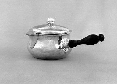 James Thompson. <em>Brandy Warmer</em>, 1834-1841. Silver, wood, 4 5/16 x 5 3/8 x 9 in. (11 x 13.7 x 22.9 cm). Brooklyn Museum, Dick S. Ramsay Fund, 53.58. Creative Commons-BY (Photo: Brooklyn Museum, 53.58_bw.jpg)