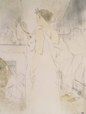 Henri de Toulouse-Lautrec (French, 1864-1901). <em>Femme a Glace from Elles</em>, 1896. Lithograph on wove paper, 20 9/16 x 15 3/4 in. (52.2 x 40 cm). Brooklyn Museum, Gift of Millicent Huttleston Rogers, 53.8.10 (Photo: Brooklyn Museum, 53.8.10.jpg)