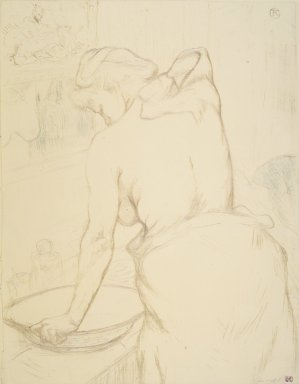 Henri de Toulouse-Lautrec (French, 1864-1901). <em>Woman Washing Herself (Femme qui se lave)</em>, 1896. Lithograph on wove paper, 20 1/2 x 15 15/16 in. (52 x 40.5 cm). Brooklyn Museum, Gift of Millicent Huttleston Rogers, 53.8.11 (Photo: Brooklyn Museum, 53.8.11_transp5812.jpg)