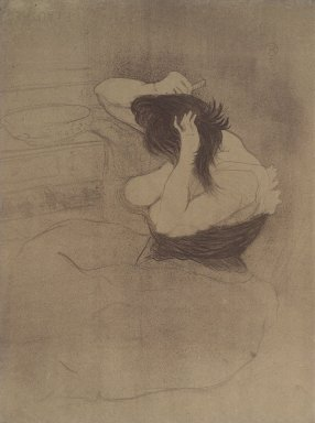 Henri de Toulouse-Lautrec (French, 1864-1901). <em>Femme Qui Se Peigne from Elles</em>, 1896. Lithograph on wove paper, 20 1/16 x 15 3/16 in. (51 x 38.5 cm). Brooklyn Museum, Gift of Millicent Huttleston Rogers, 53.8.12 (Photo: Brooklyn Museum, 53.8.12.jpg)