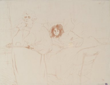 Henri de Toulouse-Lautrec (French, 1864-1901). <em>Femme Au Plateau from Elles</em>, 1896. Lithograph on wove paper, 15 13/16 x 20 11/16 in. (40.2 x 52.6 cm). Brooklyn Museum, Gift of Millicent Huttleston Rogers, 53.8.13 (Photo: Brooklyn Museum, 53.8.13.jpg)
