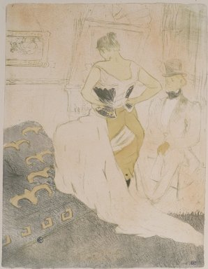 Henri de Toulouse-Lautrec (French, 1864-1901). <em>Femme En Corset from Elles</em>, 1896. Lithograph on wove paper, 20 11/16 x 15 7/8 in. (52.6 x 40.3 cm). Brooklyn Museum, Gift of Millicent Huttleston Rogers, 53.8.6 (Photo: Brooklyn Museum, 53.8.6.jpg)