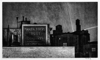 Armin Landeck (American, 1905-1984). <em>Manufacturers Trust Company</em>, 1938. Etching and aquatint, 7 1/16 x 11 15/16 in. (18 x 30.3 cm). Brooklyn Museum, Gift of Robert E. Blum, 53.99.4. © artist or artist's estate (Photo: Brooklyn Museum, 53.99.4_bw.jpg)