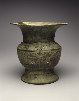 <em>Ritual Wine Vessel (Zun)</em>, ca. 13th-12th century B.C.E. Bronze, 8 5/8 x 5 7/8 in. (21.9 x 14.9 cm). Brooklyn Museum, Gift of David James in memory of his brother, William James, 54.10.3. Creative Commons-BY (Photo: Brooklyn Museum, 54.10.3_SL1.jpg)