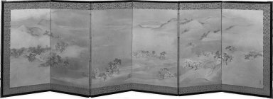 Maruyama Okyo (Japanese, 1733-1795). <em>Landscape of the Four Seasons</em>, ca.1787. A pair of screens, painting in color and gold wash and sprinkles on paper, 21 9/16 x 69 7/8 in. (54.8 x 177.5 cm). Brooklyn Museum, Anonymous gift, 54.102.8. Creative Commons-BY (Photo: Brooklyn Museum, 54.102.8_bw.jpg)