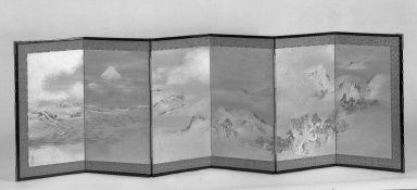 Maruyama Okyo (Japanese, 1733-1795). <em>Landscape of the Four Seasons</em>, ca.1787. A pair of screens, painting in color and gold wash and sprinkles on paper, 21 9/16 x 69 7/8 in. (54.8 x 177.5 cm). Brooklyn Museum, Anonymous gift, 54.102.9. Creative Commons-BY (Photo: Brooklyn Museum, 54.102.9_acetate_bw.jpg)