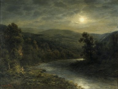 Thomas B. Griffin (American, died 1918). <em>Moonlight on the Delaware River</em>, ca. 1896-1915. Oil on canvas, 29 15/16 x 40 1/16 in. (76 x 101.8 cm). Brooklyn Museum, Gift of Mrs. Alfred T. Dillhoff in memory of Rosamund E. Lafferty, 54.104 (Photo: Brooklyn Museum, 54.104.jpg)