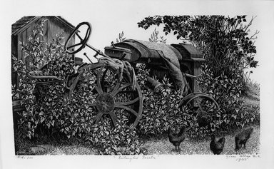 Grace Arnold Albee (American, 1890-1995). <em>Entangled Tractor</em>, 1945. Wood engraving on paper, 4 1/2 x 8 1/16 in. (11.5 x 20.5 cm). Brooklyn Museum, Dick S. Ramsay Fund, 54.109.2. © artist or artist's estate (Photo: Brooklyn Museum, 54.109.2_bw.jpg)
