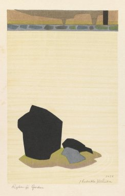 Hodaka Yoshida (Japanese, 1926-1995). <em>Ryunaji Garden, Kyoto</em>, 1953. Woodblock print on paper, 7 1/2 x 4 13/16 in. (19.1 x 12.2 cm). Brooklyn Museum, Henry L. Batterman Fund, 54.112.2. © artist or artist's estate (Photo: Brooklyn Museum, 54.112.2_IMLS_PS3.jpg)