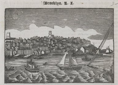 Unknown. <em>Brooklyn, New York</em>, 19th century. Woodcut engraving on paper, 2 13/16 x 4 1/8 in. (7.1 x 10.5 cm). Brooklyn Museum, Dick S. Ramsay Fund, 54.137.1 (Photo: Brooklyn Museum, 54.137.1_PS2.jpg)