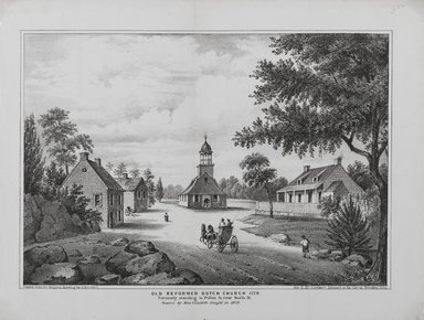Drawn by Elizabeth Sleight. <em>Old Reformed Dutch Church 1776</em>, 1864. Lithograph, Sheet: 8 3/4 x 11 1/2 in. (22.2 x 29.2 cm). Brooklyn Museum, Dick S. Ramsay Fund, 54.137.6 (Photo: Brooklyn Museum, 54.137.6_PS1.jpg)