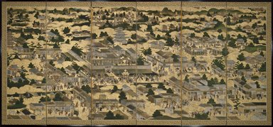 <em>Views In and Around Kyoto (Rakuchu rakugai zu)</em>, ca.1616-1624. Ink, color and gold leaf on paper, 68 5/8 x 130 x 12 in. (174.3 x 330.2 x 30.5 cm). Brooklyn Museum, Gift of W. W. Hoffman, 54.144a-b. Creative Commons-BY (Photo: Brooklyn Museum, 54.144a_SL3.jpg)