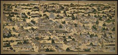 <em>Views In and Around Kyoto (Rakuchu rakugai zu)</em>, ca.1616-1624. Ink, color and gold leaf on paper, 68 5/8 x 130 x 12 in. (174.3 x 330.2 x 30.5 cm). Brooklyn Museum, Gift of W. W. Hoffman, 54.144a-b. Creative Commons-BY (Photo: Brooklyn Museum, 54.144a_SL3.jpg)