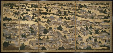 <em>Views In and Around Kyoto (Rakuchu rakugai zu)</em>, ca.1616-1624. Ink, color and gold leaf on paper, 68 5/8 x 130 x 12 in. (174.3 x 330.2 x 30.5 cm). Brooklyn Museum, Gift of W. W. Hoffman, 54.144a-b. Creative Commons-BY (Photo: Brooklyn Museum, 54.144b_SL3.jpg)