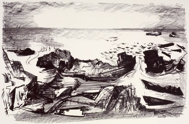 Martyl Langsdorf (American, 1917-2013). <em>Coast of Maine</em>, 1954. Lithograph, Sheet: 18 7/8 x 24 7/8 in. (47.9 x 63.2 cm). Brooklyn Museum, Gift of Artists Equity, Chicago Chapter, 54.153.8. © artist or artist's estate (Photo: Brooklyn Museum, 54.153.8.jpg)