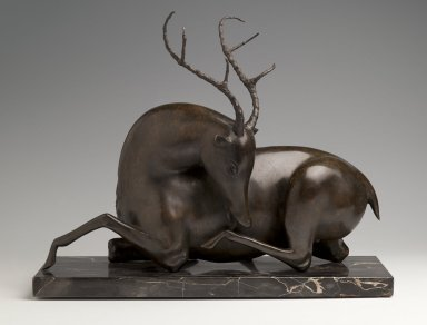 Elie Nadelman (American, 1882-1946). <em>Resting Stag</em>, ca. 1915. Bronze, marble base, 15 1/2 x 10 x 20 5/8 in., 45.8 lb. (39.4 x 25.4 x 52.4 cm). Brooklyn Museum, Bequest of Margaret S. Lewisohn, 54.158. Creative Commons-BY (Photo: Brooklyn Museum, 54.158_front_PS2.jpg)