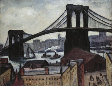 Samuel Halpert (American, 1884-1930). <em>View of Brooklyn Bridge</em>, 1920s. Oil on canvas, image (approximate site measurement of canvas): 28 x 35 3/4 in. (71.1 x 90.8 cm). Brooklyn Museum, Gift of Benjamin Halpert, 54.15 (Photo: Brooklyn Museum, 54.15_SL1.jpg)
