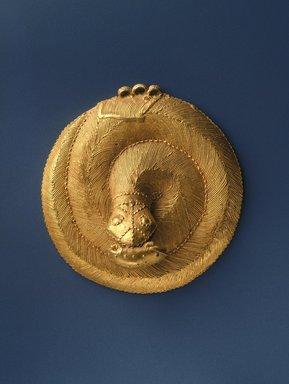 Ebrié. <em>Snake Pendant</em>, 19th century. Gold, diameter: 3 9/16 in. (9 cm). Brooklyn Museum, Frank L. Babbott Fund, 54.161. Creative Commons-BY (Photo: Brooklyn Museum, 54.161_SL1.jpg)