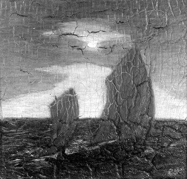 Albert Pinkham Ryder (American, 1847-1917). <em>Marine, Moonlight</em>, 1890s. Oil on panel, 11 3/8 x 12 1/16 in. (28.9 x 30.6 cm). Brooklyn Museum, Gift of Mr. and Mrs. Solton Engel, 54.184 (Photo: Brooklyn Museum, 54.184_bw.jpg)