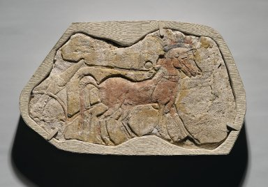 <em>A Span of Two Horses Pulling a Chariot</em>, ca. 1352-1336 B.C.E. Gypsum plaster, pigment, 8 11/16 x 13 13/16 in. (22 x 35.1 cm). Brooklyn Museum, Charles Edwin Wilbour Fund, 54.186. Creative Commons-BY (Photo: Brooklyn Museum, 54.186_PS2.jpg)