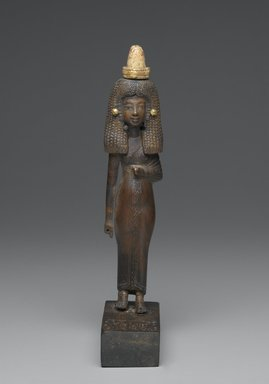 <em>Lady Tuty</em>, ca. 1390-1352 B.C.E. Wood, gold leaf, 10 1/4 x 1 7/8 x 5 1/2 in. (26 x 4.8 x 14 cm). Brooklyn Museum, Charles Edwin Wilbour Fund, 54.187. Creative Commons-BY (Photo: Brooklyn Museum, 54.187_front_PS2.jpg)