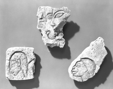 Egyptian. <em>Relief Fragment of a Man</em>, ca. 1352-1336 B.C.E. Gypsum plaster, pigment, 3 15/16 x 2 1/4 in. (10 x 5.7 cm). Brooklyn Museum, Charles Edwin Wilbour Fund, 54.188.1. Creative Commons-BY (Photo: Brooklyn Museum, 54.188.1_negA_bw_IMLS.jpg)