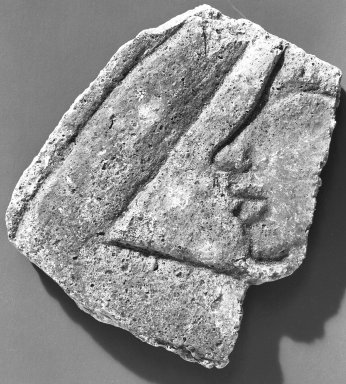 <em>Fragment of Relief</em>, ca. 1352-1336 B.C.E. Gypsum plaster, pigment, 3 9/16 x 3 1/8 in. (9.1 x 8 cm). Brooklyn Museum, Charles Edwin Wilbour Fund, 54.188.2. Creative Commons-BY (Photo: Brooklyn Museum, 54.188.2_negA_bw_IMLS.jpg)