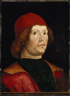 Lorenzo Costa (Italian, Ferrarese, 1460-1535). <em>Portrait of a Man</em>, late 15th century. Tempera and oil on poplar panel, 18 7/8 x 13 in. (47.9 x 33 cm). Brooklyn Museum, Gift of Mrs. Watson B. Dickerman, 54.193 (Photo: Brooklyn Museum, 54.193_SL1.jpg)