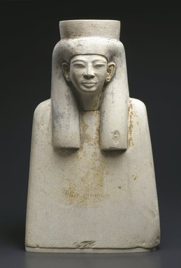<em>Bust with a Long Wig</em>, ca. 1336-1279 B.C.E. Limestone, pigment, 10 1/4 x 6 1/8 x 3 3/4 in. (26 x 15.6 x 9.5 cm). Brooklyn Museum, Charles Edwin Wilbour Fund, 54.1. Creative Commons-BY (Photo: Brooklyn Museum, 54.1_SL1.jpg)